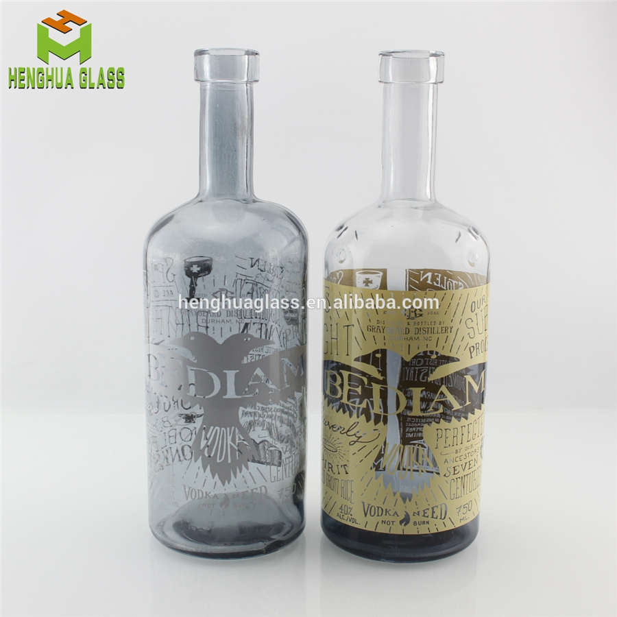 750ml glass vodka bottle