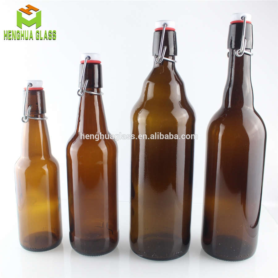 amber glass beer bottle with swing top lid